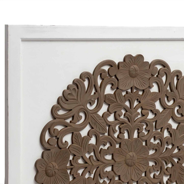 Hoofdeinde Venezia 140 cm wit en bruin hout