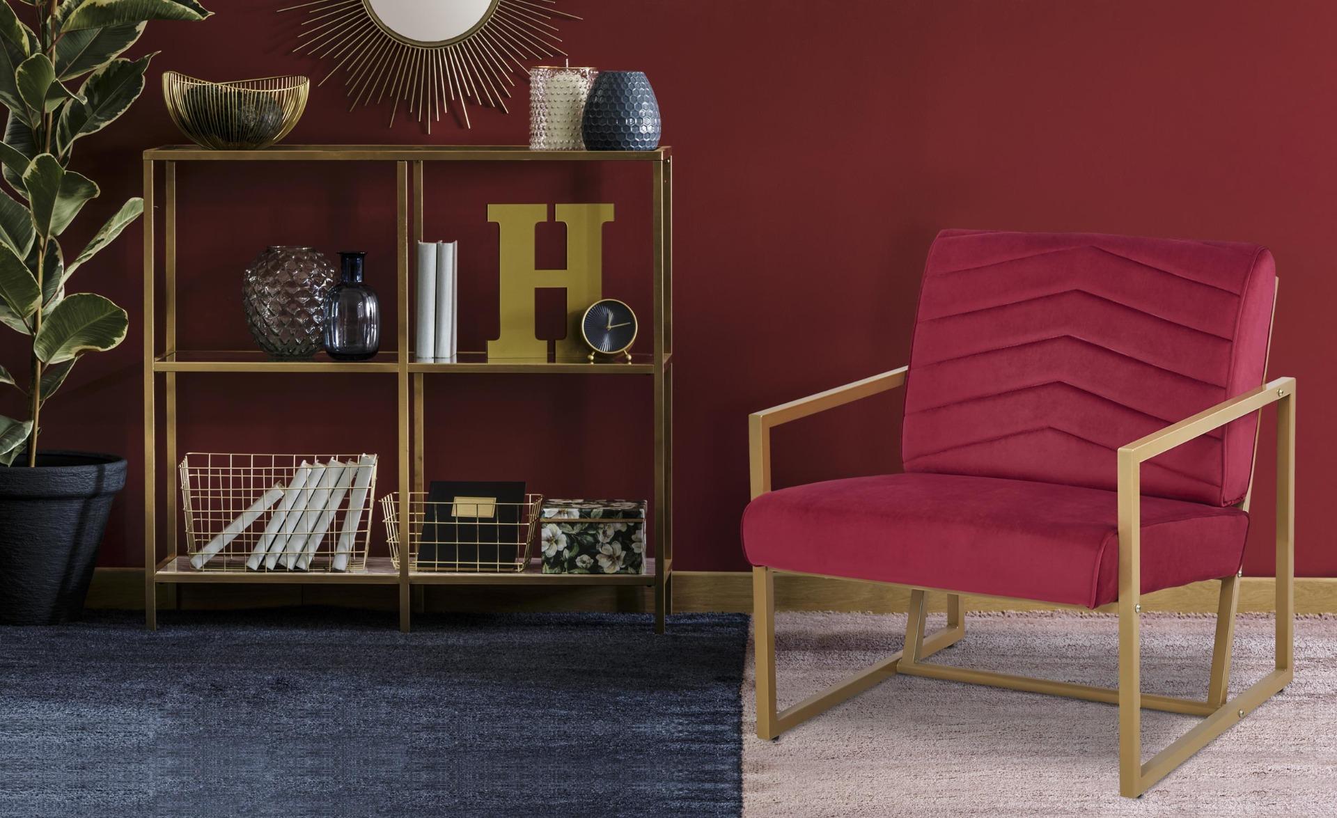 Vidor Fauteuil van rood fluweel met gouden poten