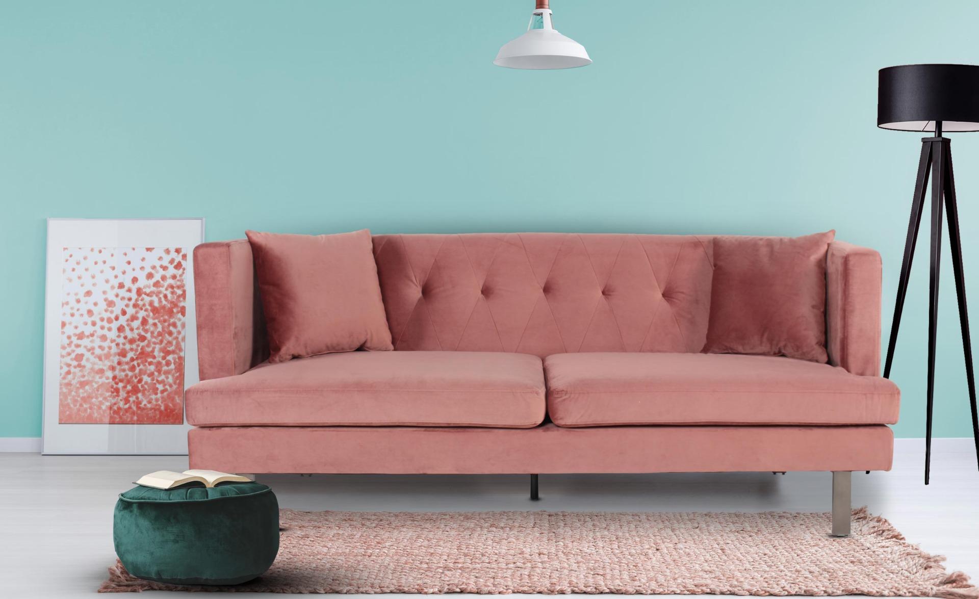 Vincennes 3-zitsbank van roze fluweel