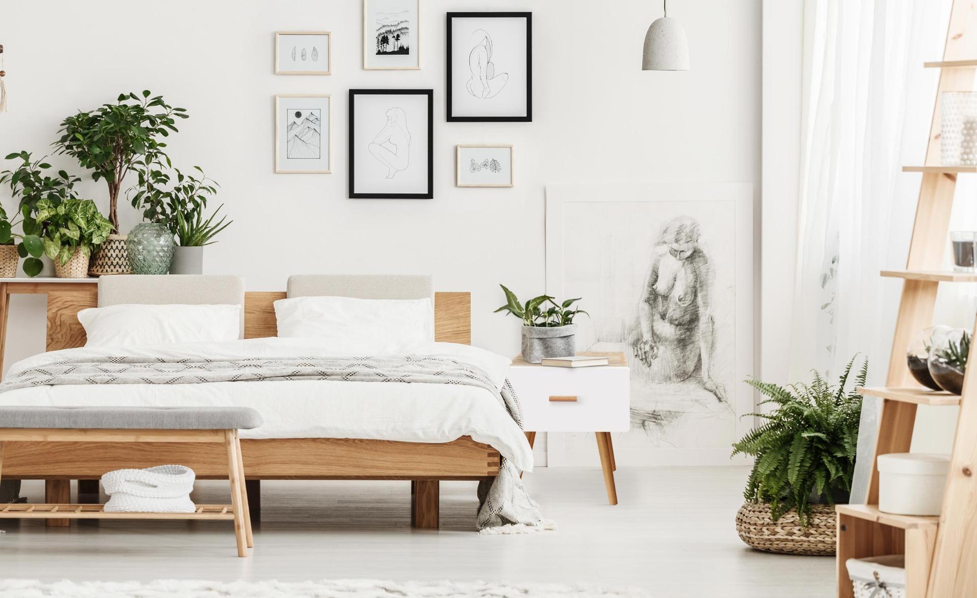 Amanda Scandinavisch nachtkastje met 1 lade, licht eiken en wit