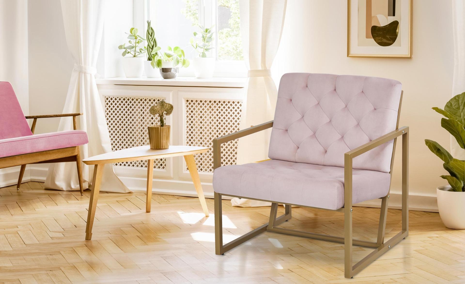 Waco fauteuil roze fluweel gouden voeten