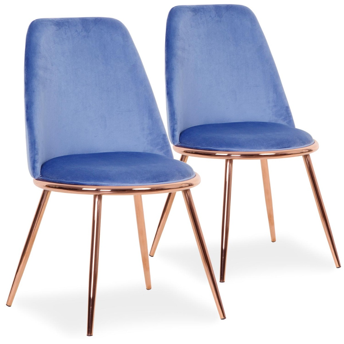 Lot de 2 Chaises Wallis Velours Bleu